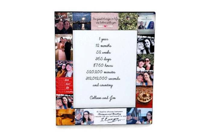1 year Anniversary Picture Frame  Collage Personalized Gift Bridesmaid Maid of