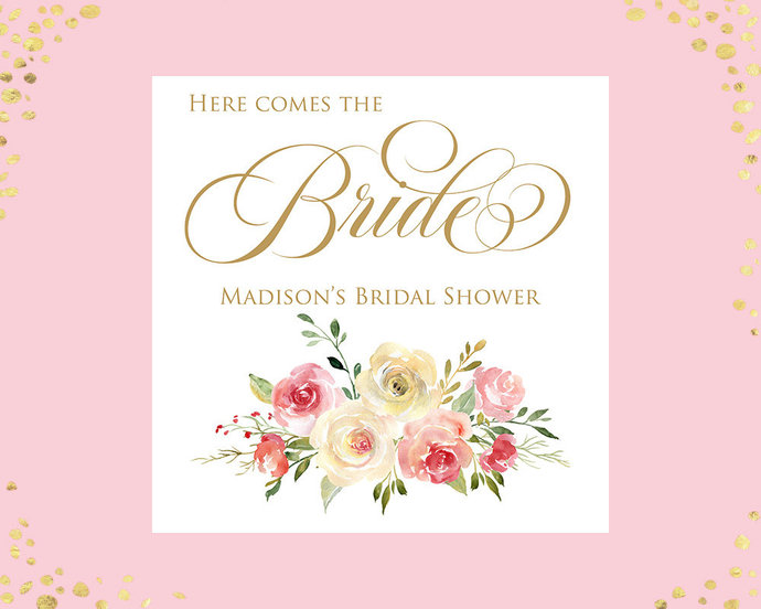 100+ Bridal Shower Napkins, Blush Cream Ivory Floral Wedding Shower Napkins,