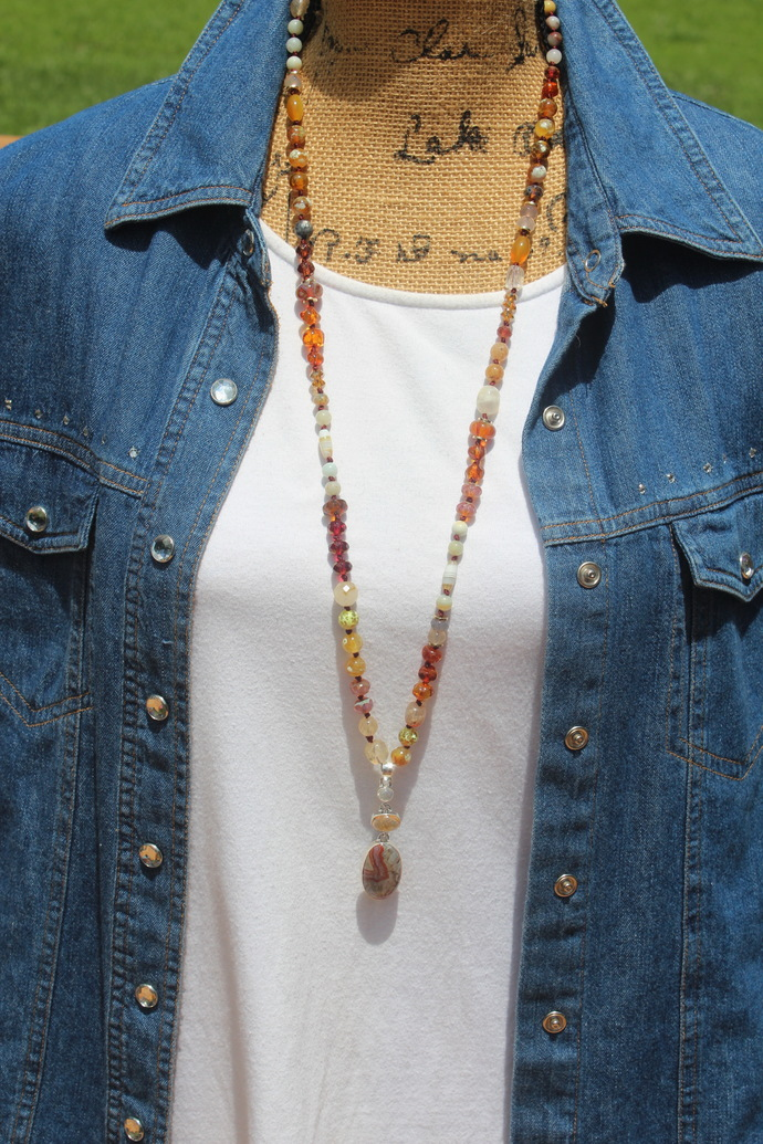 Long Beaded Necklace with Pendant Amber Sea of Gold Hand Knot Unique Jewelry by