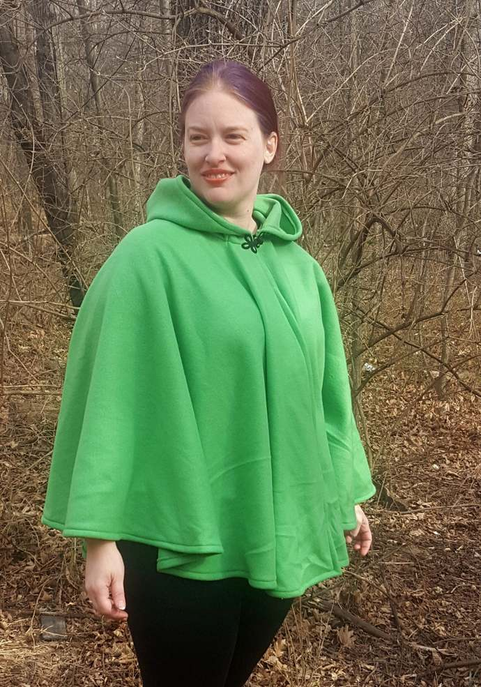 Short Fleece Cloak - Light Green Full Circle Cloak Cape with Hood - Spring Fall