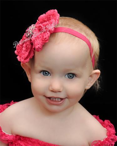 Hot Pink Chiffon Rosette Bow Headband with Rhinestone Button