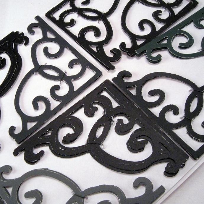 Black Gray Rustic Corner Die Cuts