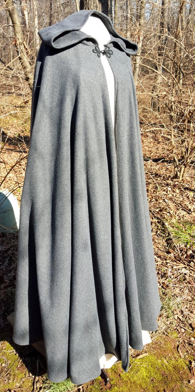 Dark Grey Long Cloak - Full Circle Fleece Medieval Renaissance Cloak - Costume