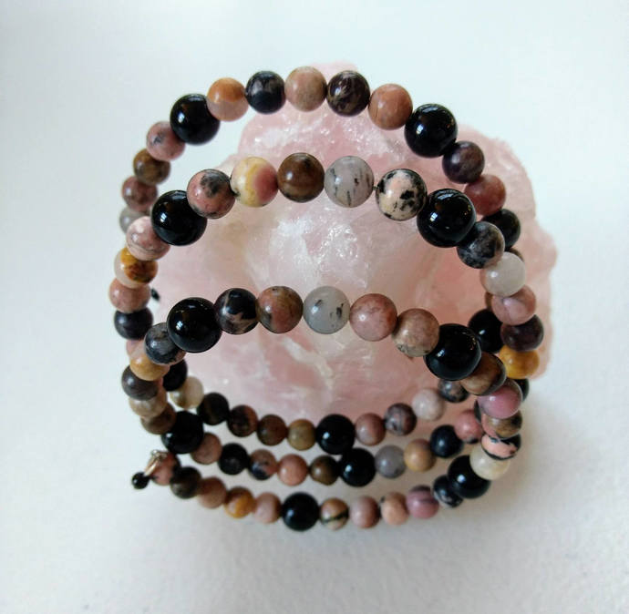 3 Stack Memory Wire Bracelet/Rhodonite/Black Jasper/Depression and Anxiety