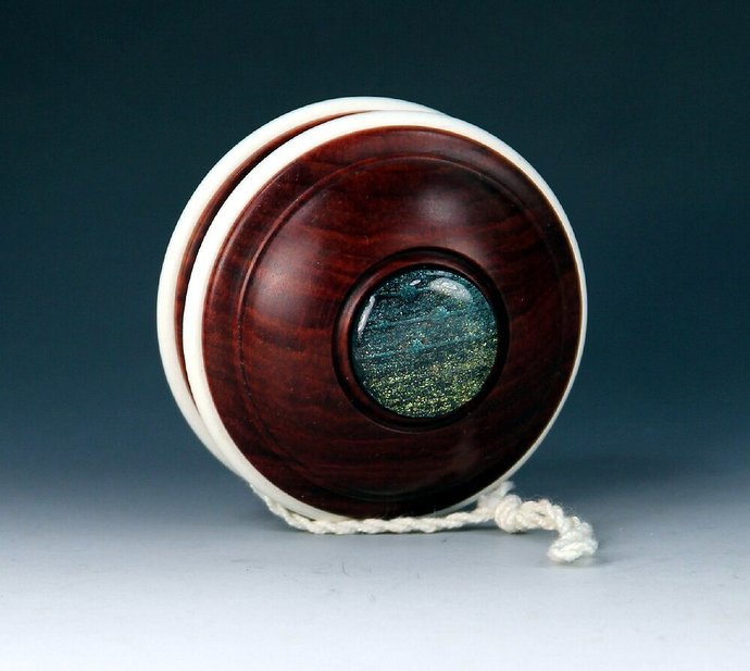 Handmade Toy YoYo, Fixed Axle Satellite Made From Brazilian Redheart Wood With