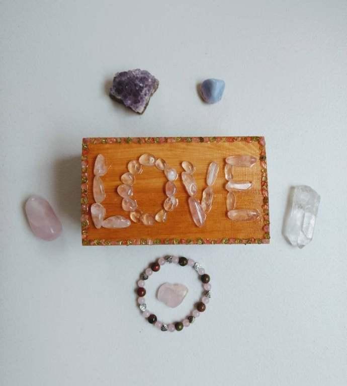 Meditation Box Set/Love/Bracelet/Rose Quartz/Peridot/Unakite/Amethyst