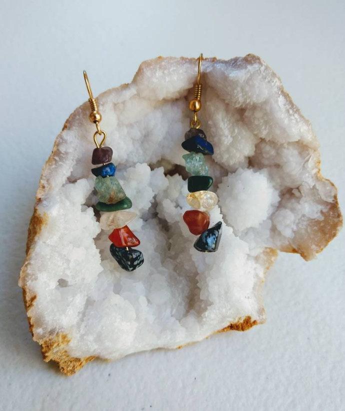 Earrings/Chakra Balancing/Snowflake Obsidian/Red Agate/Citrine/Green