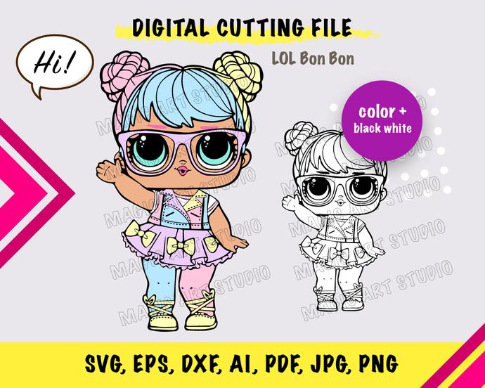 Bon Bon INSTANT DOWNLOAD (SVG, eps, dxf, ai, pdf, jpg, png, cutting file)
