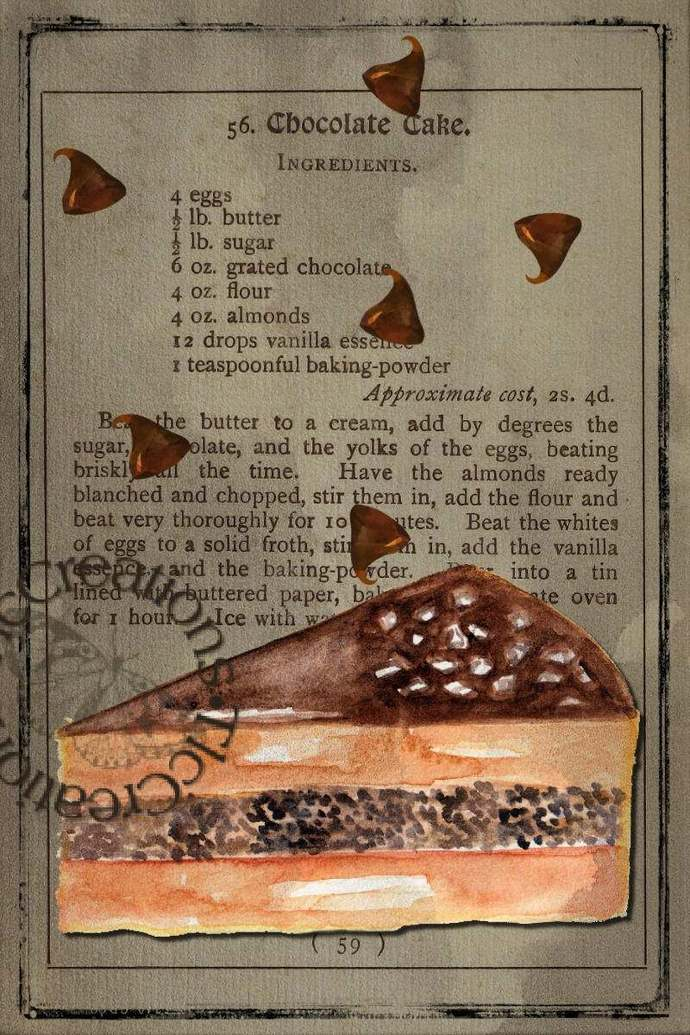 Chocolate is Life Vintage Looking Journal Cards, Papers and Ticket Ephemera