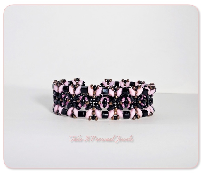 Jewelry  handmade black and pink butterfly style bracelet superduo beads with