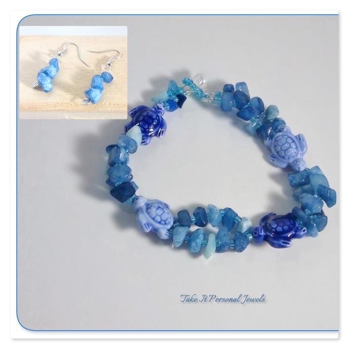 Gemstone Jewelry Blue Calcite chips glass turtles Handmade Bracelet free
