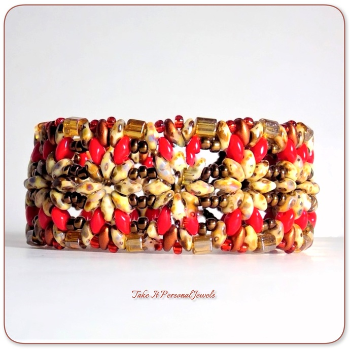 Coral Red Travertine Superduo Cube handmade bracelet