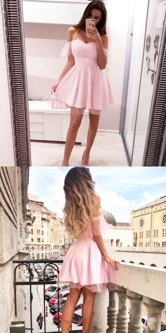 A-Line Off the Shoulder Sleeveless Pink Short Homecoming Dress