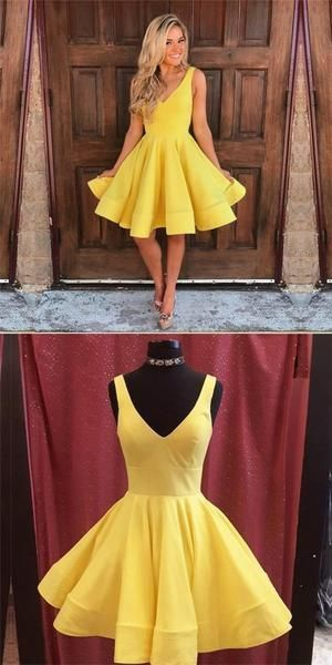 Simple A-Line V-Neck Sleeveless Short Yellow Cheap Homecoming Dresses