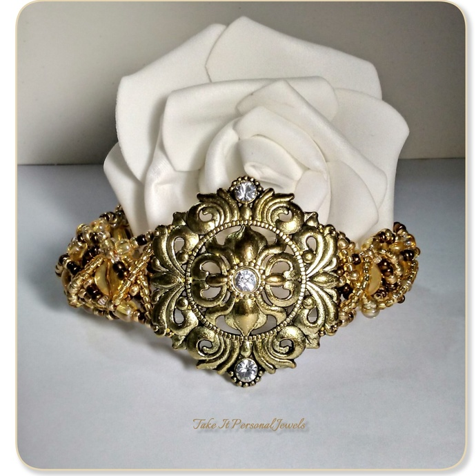 Gold Statement handmade Bracelet