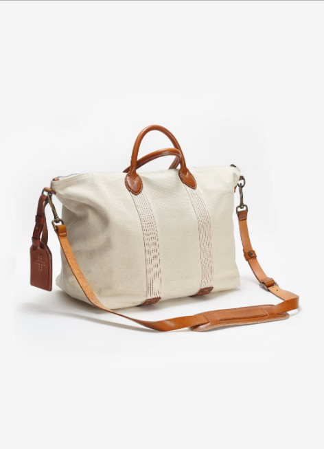 Handmade Canvas Travel Tote and Leather