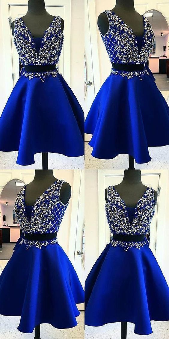 Two Pieces Homecoming Dresses, Homecoming Dresses Blue, V-neck Homecoming