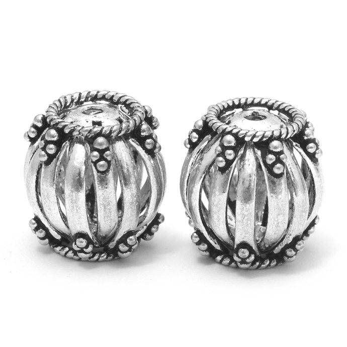 925 Sterling Silver Lantern Shape Connector Oxidized Drum Beads Jewelry