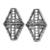 925 Sterling Silver Triangular Multi Strand Reducer Oxidized Kite Shape  Beads