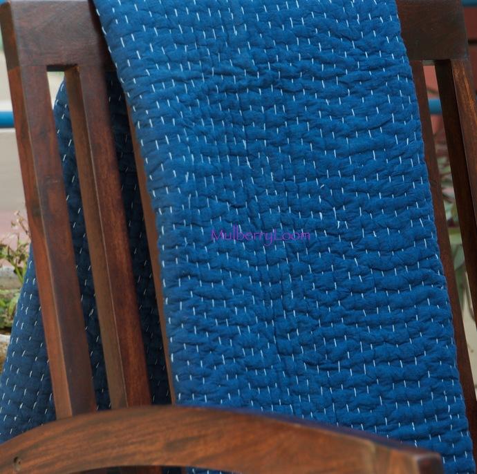 Handmade Baby Quilt - Natural Indigo Kantha Quilt - Rustic Nursery Decor - Baby