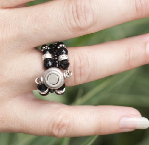 Black Sliver Cocktail Ring