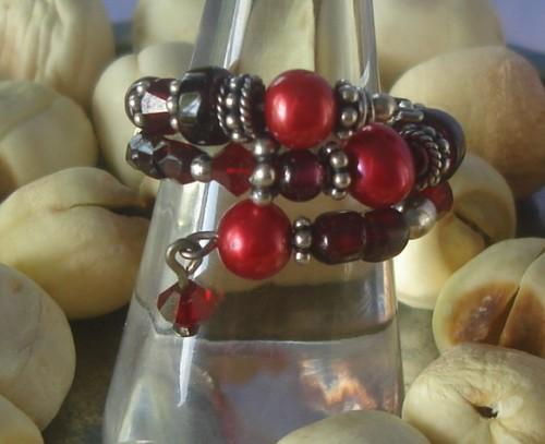Garnet Pearl Beaded Ring