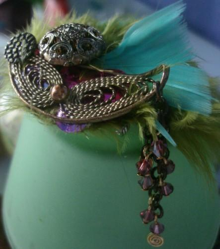 MJJ - Feather Broche w/ Swarvoski Crystals