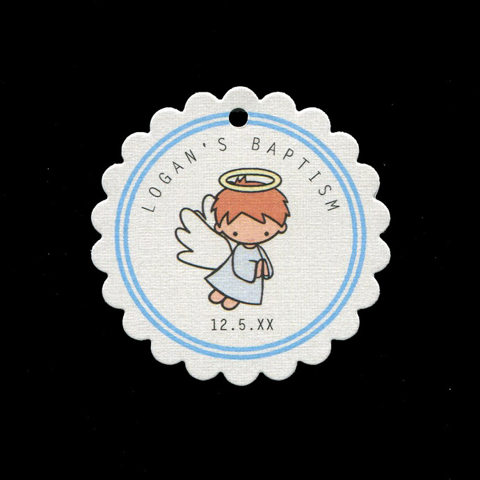 Baptism Tags for Baby Boy Party Favor Thank You Gifts, Cookies and Candy, Set of