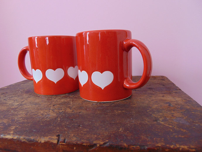 Vintage Waechtersbach Spain Red Mugs Hard To Find