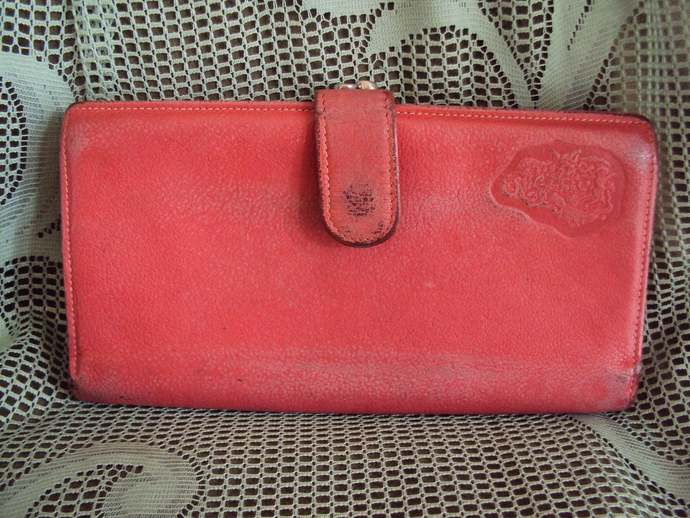 REDUCED 1/2 OFF!! Shabby Chic Vintage Carlos Falchi  The Buffalo Leather  Wallet