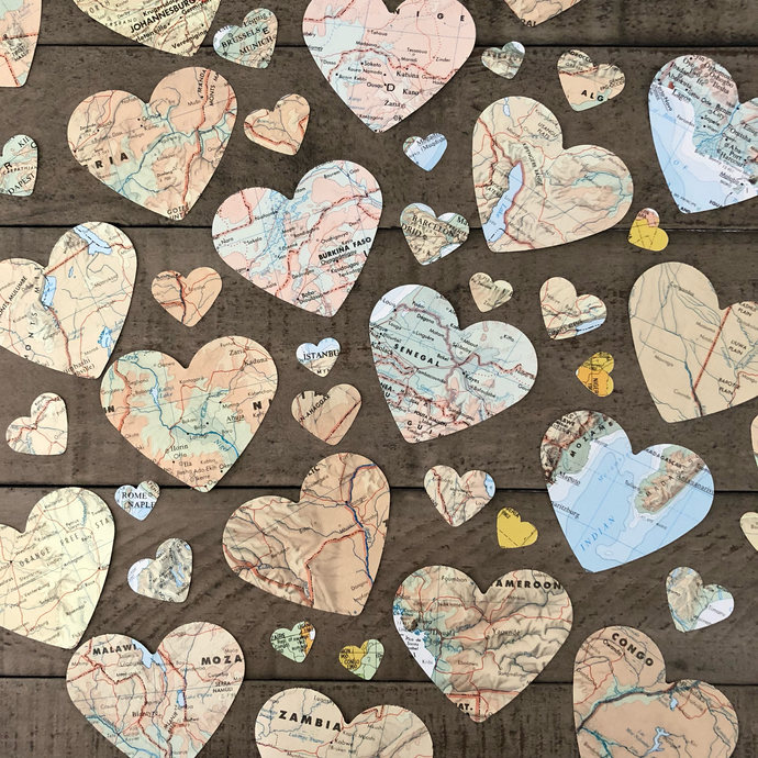 700 Upcycled Atlas Page Hearts Atlas decor ~ Map Hearts ~ Travel Party decor ~
