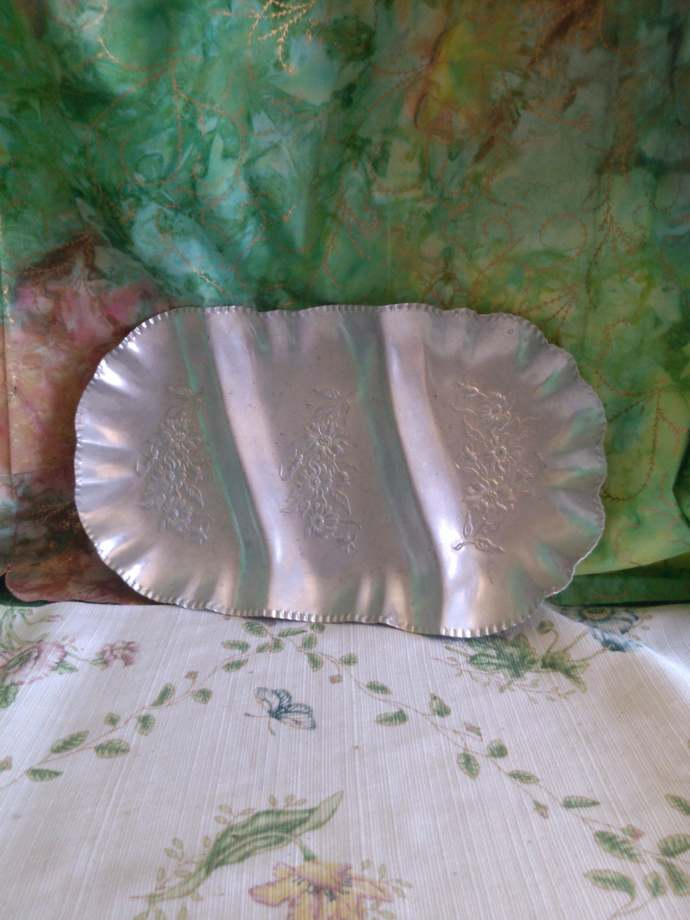 Vintage Aluminum Three Section Flowered Tray