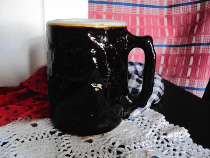 Antique Burley & Winter Salt Glaze Stoneware Dark Brown Tankard