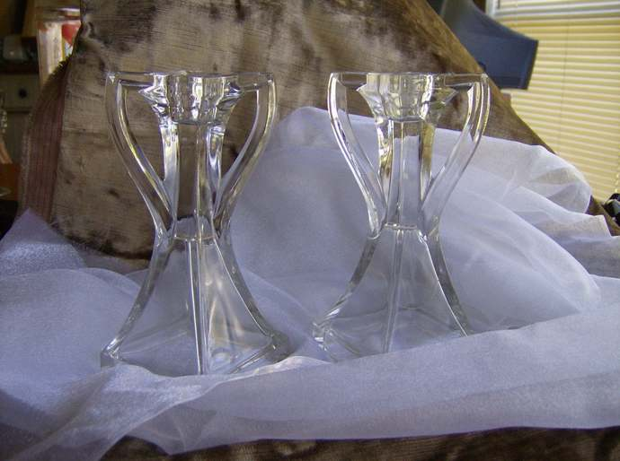 Art Deco Glass Candlesticks Manganese Glass