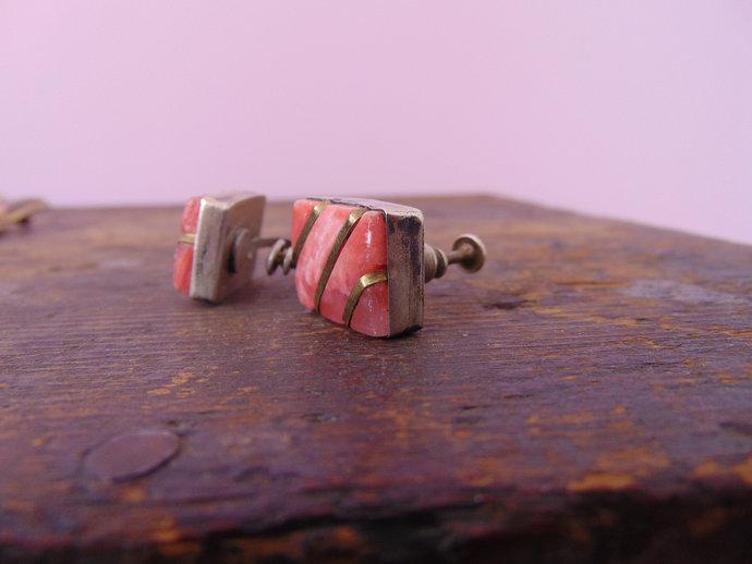 Vintage  Rhodochrosite Screw Back Earrings