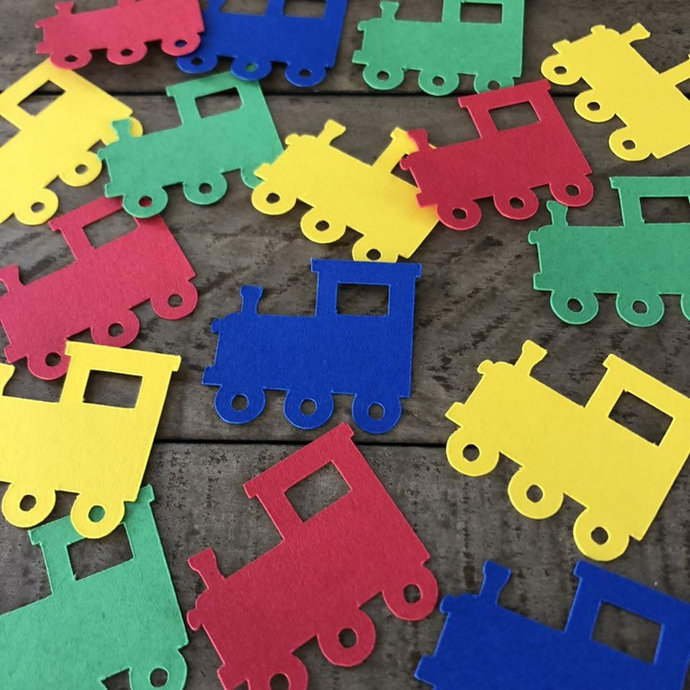 Train Engine confetti ~ Train Die Cut Table Scatter ~ Train confett party decor