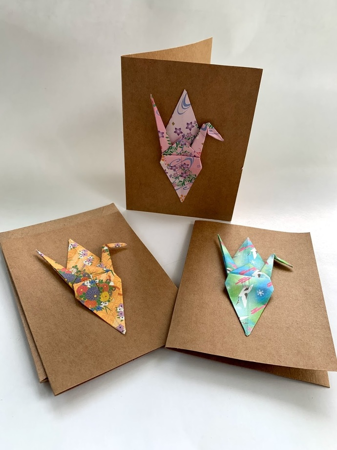 Blank cards, 3 pack, origami crane, note cards, occasion cards, stationary