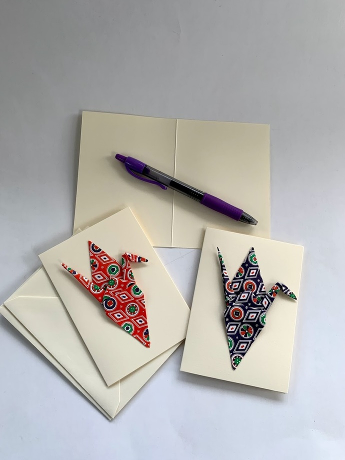 Three pack small note cards, origami crane, paper crane, stationary, blank