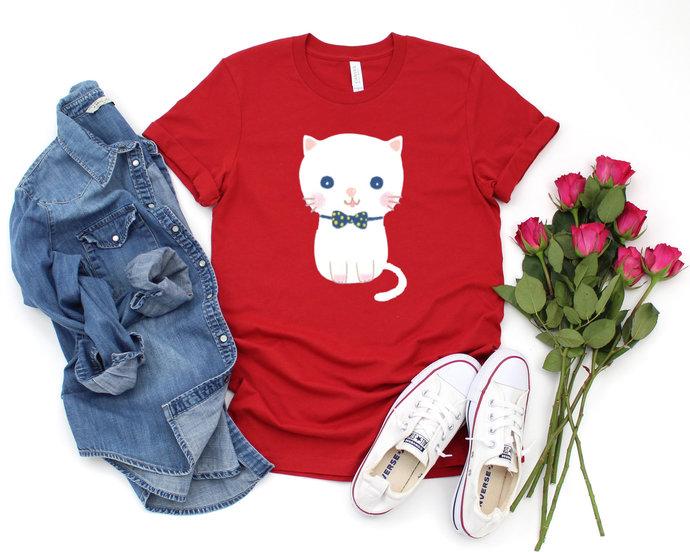 White Kitty Cotton T-Shirt for Women Cat Lover Birthday Gift