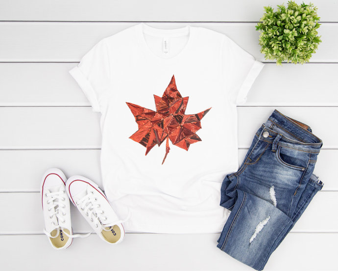 Abstract Maple Leaf Quilling Art Design Tshirt Unisex Tee