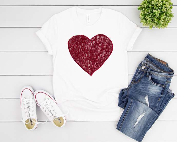Heart Tee Soft Cotton Fabric Unique Design With Multiple Pastel Color Options