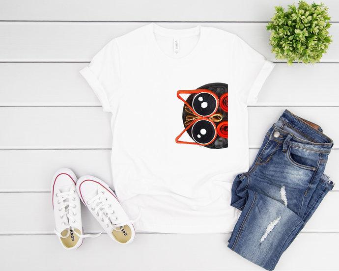 Orange Quilled Owl T-Shirt Unisex Tee