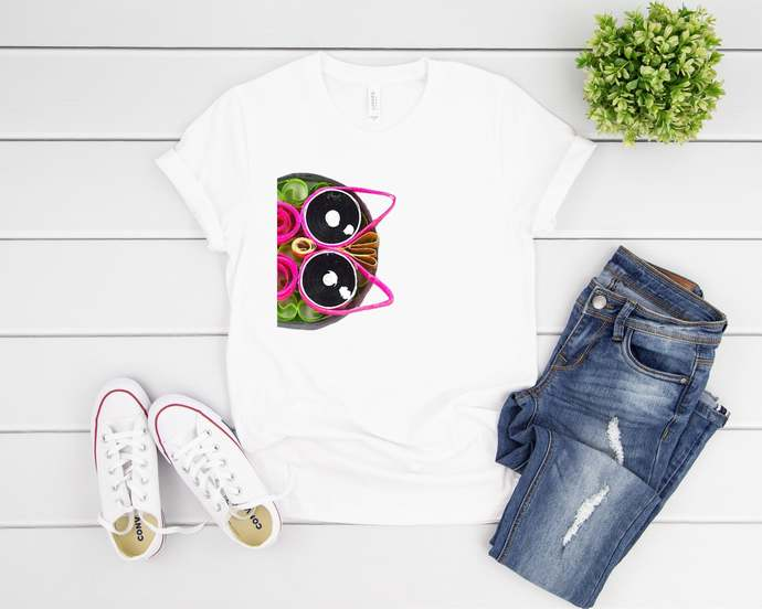 Quilled Owl Peeking Unique Design Cute Owl T-Shirt Unisex Tee
