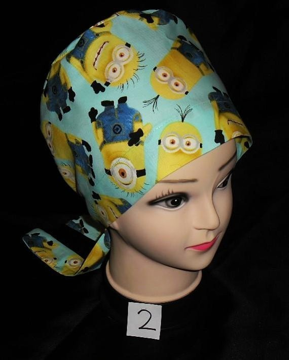 Despicable Me Large Minion Blue Nurses Scrubs Hats Women Pixie Scrub Caps