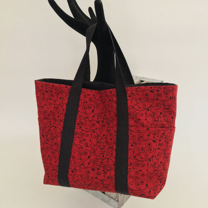 Classy red and black scroll print mini tote project carry all with outer pockets