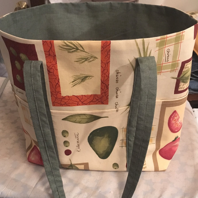 Abstract garden print market tote carry all