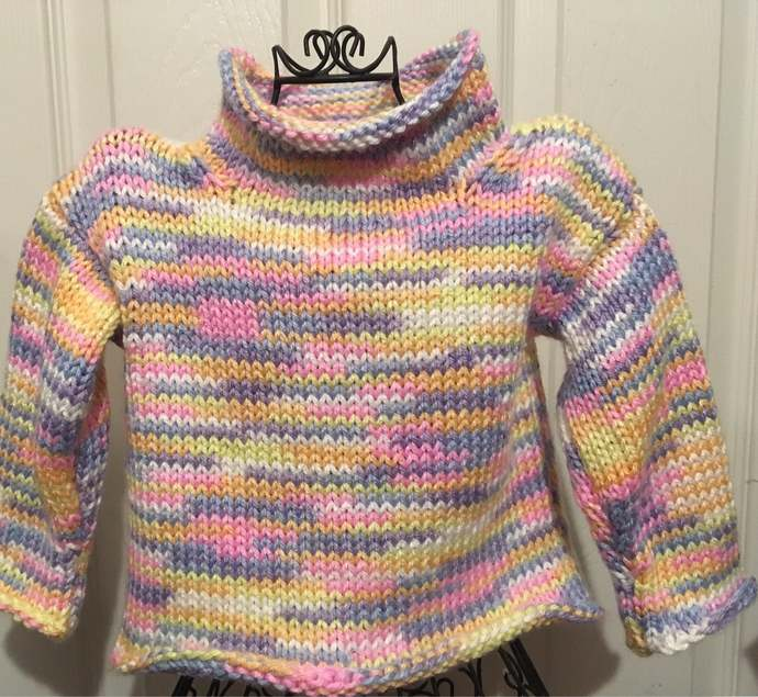 Super soft knitted pastel stripped baby sweater spring crew neck pull over for