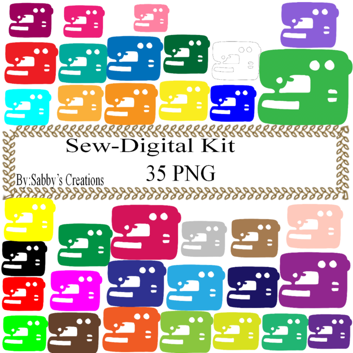Sewing Machine Digital Kit-Digital Clipart-Art Clip-Jewelry-T shirt-Notebook-