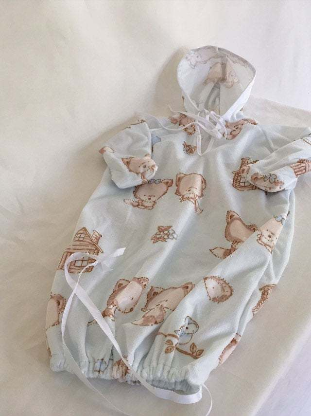 Newborn Snuggle Sack with Hood and Matching Booties Perfect Coming Home Gift for