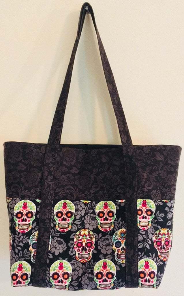 Black sugar skull print fabric handbags Dayof the Dead market bag
